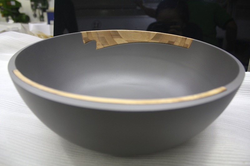Rubber painted ABS and bamboo bowl – CNC machined
